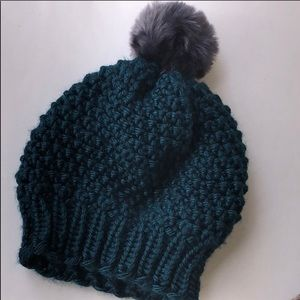 Brand new, Knit hats with faux fur pom poms